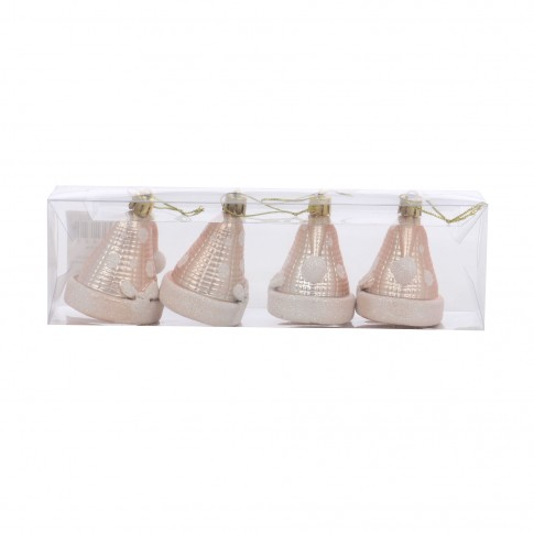 Globuri Craciun, champagne, 5 x 4.5 x 6.5 cm, set 4 bucati, SY17DGZ-312
