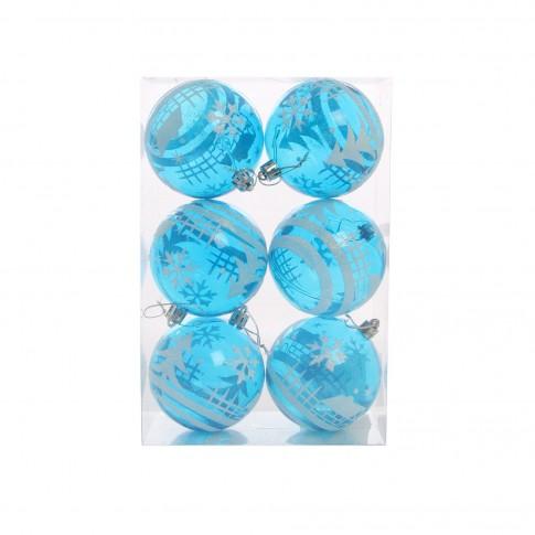 Globuri Craciun, albastre, D 8 cm, set 6 bucati, SY17D-003
