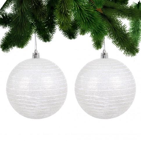 Globuri Craciun, albe, D 10 cm, set 2 bucati, SY17D-019