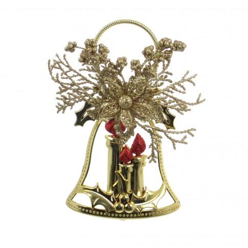 Decoratiune Craciun, tip clopotel, auriu, 27 x 14 cm, SYLD17-001