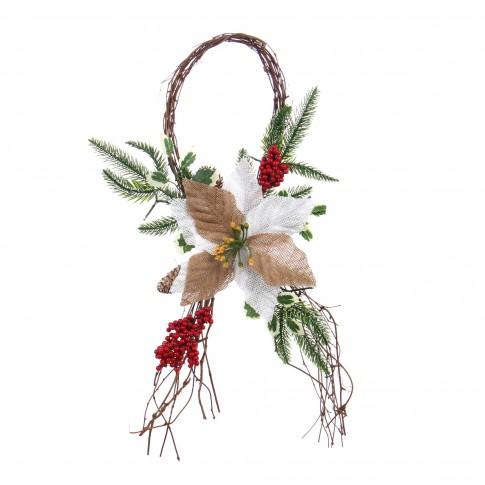Decoratiune Craciun, maro + verde + rosu, 58 cm, SYCB17-154