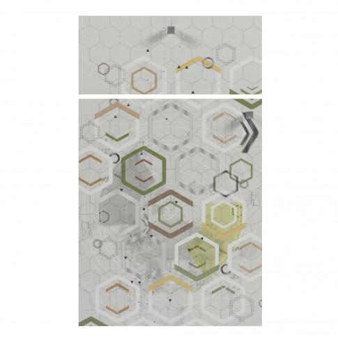 Birou calculator Andrei, stejar pastel + print P36, 103.5 x 76.5 x 56.5 cm, 3C