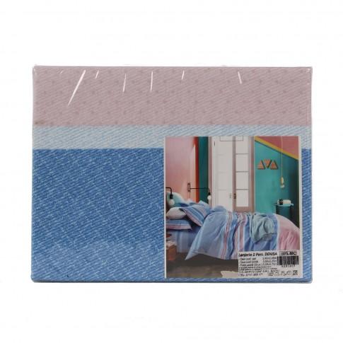 Lenjerie de pat Denisa, 2 persoane, 100 % bumbac, 4 piese, cu imprimeu