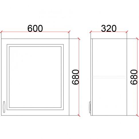 Corp superior bucatarie Martplast 1006(3), furnir diverse culori, 60 x 32 x 68 cm