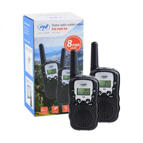 Statie radio emisie / receptie PMR portabila PNI PMR R8, set 2 bucati, functie VOX, tonuri apelare (Call), economizor automat de energie, Time Out Timer