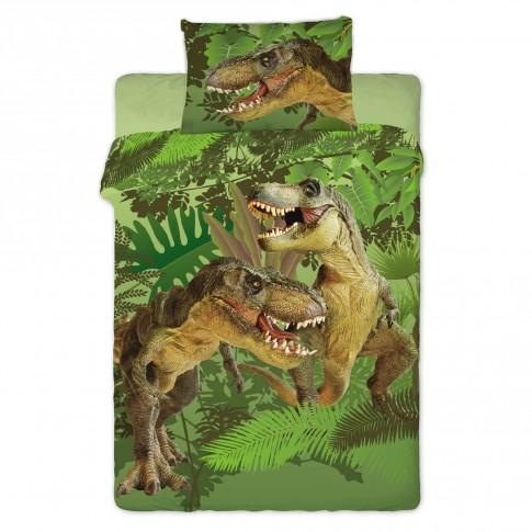 Lenjerie de pat, copii, 1 persoana, Dinosaur 2016, bumbac, 2 piese, cu imprimeu