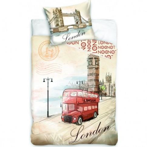 Lenjerie de pat, copii, 1 persoana, London bus, bumbac 100%, 2 piese, multicolor