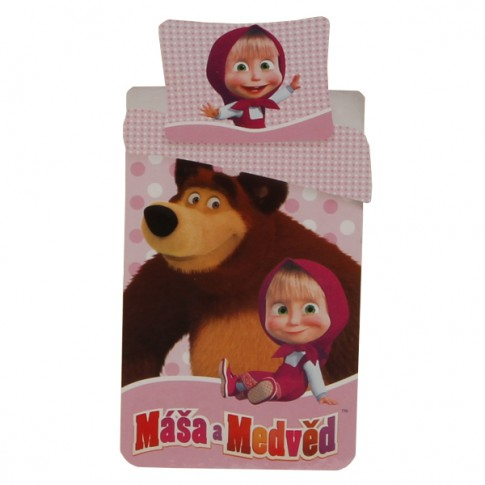 Lenjerie de pat, copii, 1 persoana, Masha and the bear, bumbac 100%, 2 piese, multicolor