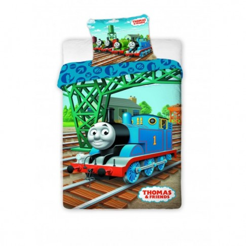 Lenjerie de pat, copii, 1 persoana, Thomas the tank engine, bumbac 100%, 2 piese, multicolor