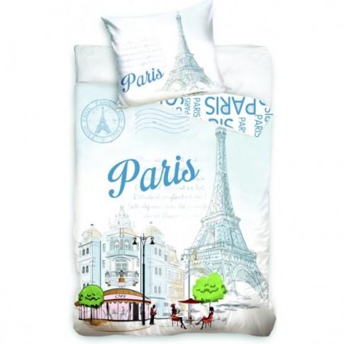 Lenjerie de pat, copii, 1 persoana, Paris tower, bumbac 100%, 2 piese, multicolor