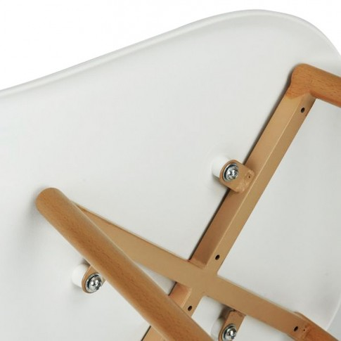 Scaun bucatarie / living fix Charlton, otel stejar + plastic alb