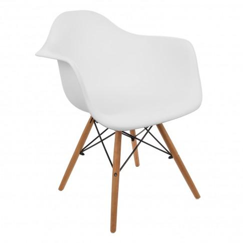 Scaun bucatarie / living fix Kohler, metal + lemn, plastic alb