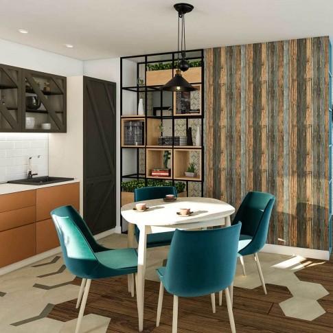 Scaun bucatarie / living fix Alberta, tapitat, lemn gri + stofa diverse culori