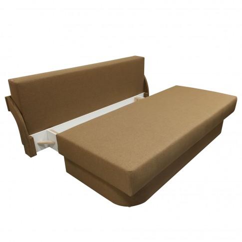 Canapea extensibila 3 locuri Anca, cu lada + spatar, maro, 200 x 107 x 75 cm, 2C