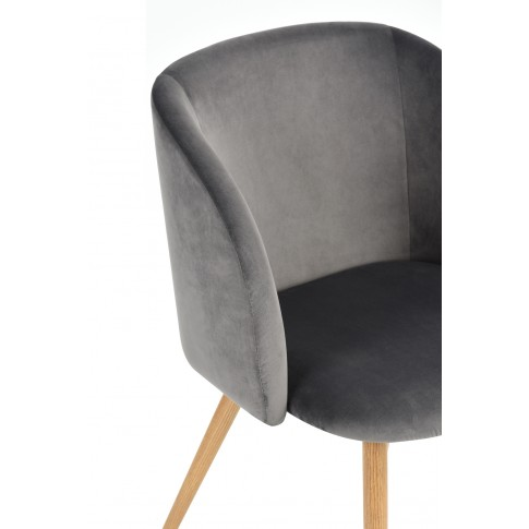 Scaun bucatarie / living fix Ynez, tapitat, metal + material textil gri