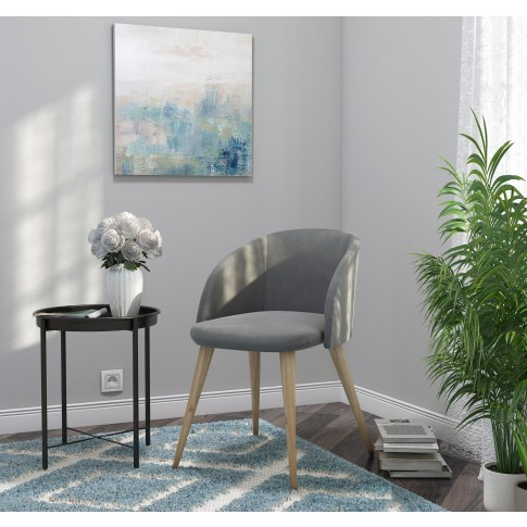 Scaun bucatarie / living fix Ynez, tapitat, metal stejar + textil gri inchis