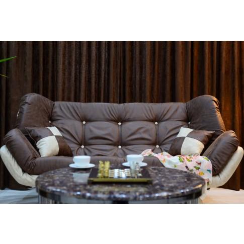 Canapea extensibila 3 locuri Lale, maro inchis + crem, 182 x 95 x 95 cm, 1C