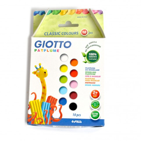 Plastilina Giotto Patplume, 10 x 20 g, set 10 culori