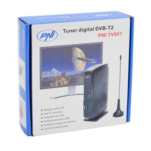 Tuner digital DVB-T2 PNI TV901 cu antena de 14.5 cm, redare fisiere de pe USB, functie inregistrare pe USB, telecomanda, 12.6 x 8.3 x 2.7 cm, negru