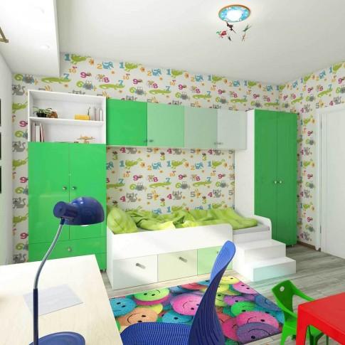 Camera tineret Natalia, alb + verde, 364 cm, 8C