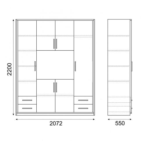 Dulap dormitor Stefan DS22, diverse culori, 6 usi, 207 x 55 x 220 cm