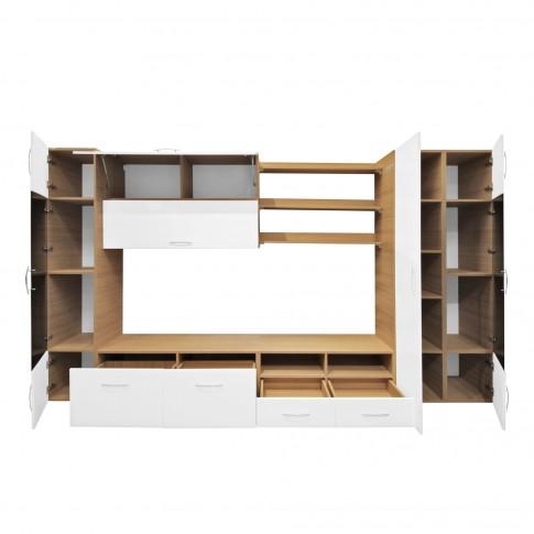 Biblioteca living Valentino, stejar + alb lucios, 360 cm, 17C