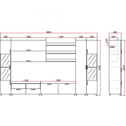 Biblioteca living Valentino, nuc + bej, 360 cm, 17C