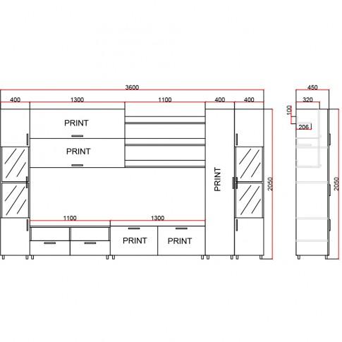 Biblioteca living Valentino, stejar + print, 360 cm, 10C