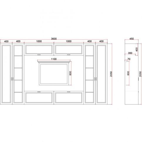 Biblioteca living Valentino, furnir gri, 360 cm, 10C