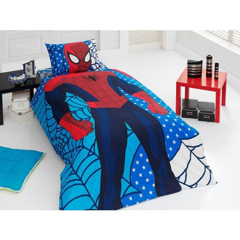 Lenjerie de pat, copii, 1 persoana, Disney Spiderman, bumbac 100%, 3 piese, albastru + rosu + alb