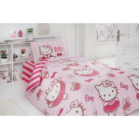 Lenjerie de pat, copii, 1 persoana, Disney Hello Kitty ballerina, bumbac 100%, 3 piese, roz + alb