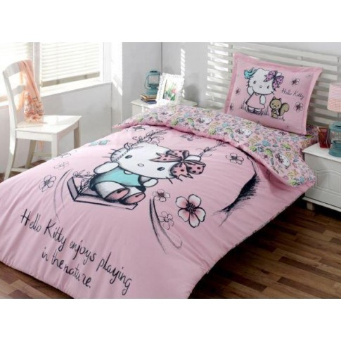 Lenjerie de pat, copii, 1 persoana, Disney Hello Kitty nature, bumbac 100%, 3 piese, multicolor