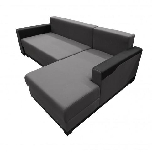 Coltar living extensibil pe stanga Blanca, cu lada, negru + gri, 223 x 139 x 85 cm, 2C