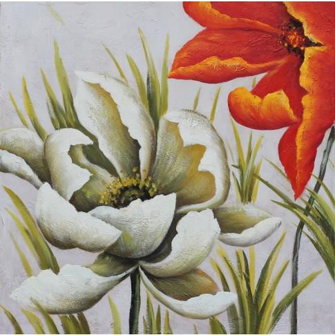 Tablou, compozitie cu flori, canvas + lemn de brad + vopsea acrilica, 65 x 65 cm