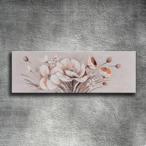 Tablou 118 DED-171415, compozitie cu flori, canvas + lemn de brad + vopsea acrilica, 40 x 120 cm