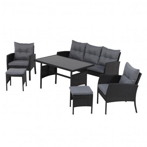 Set masa dreptunghiulara, cu 2 scaune + 1 canapea cu perne + 2 tabureti, pentru gradina Genova, din metal cu ratan sintetic
