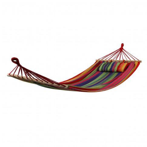Hamac cu bare din lemn si perna, 68491B-P, 100/80 x 200 cm