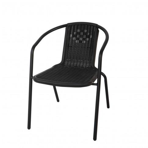 Scaun pentru gradina, Bistro 27026-RT, metal + polietilena, negru