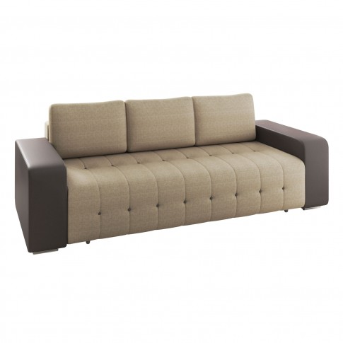 Canapea extensibila 3 locuri Olivia, cu lada, maro + crem, 233 x 96 x 89 cm, 1C