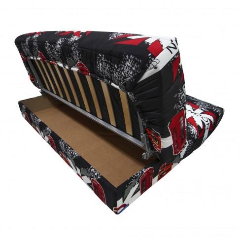 Canapea extensibila 3 locuri Click-Clack Luxeil London, cu lada, alb + rosu + negru, 190 x 88 x 90 cm, 1C