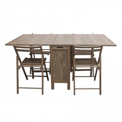 Set masa plianta cu 4 scaune Cucina, bucatarie, maro-trufa