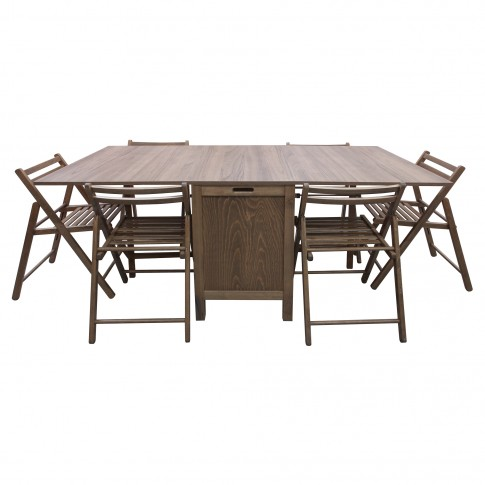 Set masa plianta cu 6 scaune Cucina, bucatarie, maro-trufa, 2C