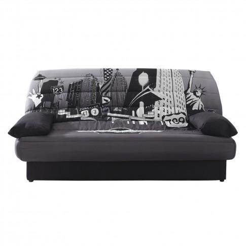 Canapea extensibila 3 locuri Click-Clack Luxeil New York, cu lada, gri + negru, 190 x 88 x 90 cm, 1C