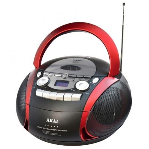 Radiocasetofon CD / MP3 player Akai APRC-90, 5 W, alimentare retea / baterii, radio FM/AM, USB, Aux in, Aux out, control volum digital