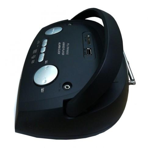 Radio MP3 player Akai APRC-106, 3 W, alimentare retea, radio FM stereo, USB, SD card reader, Aux in, functie Repeat, functie alarma