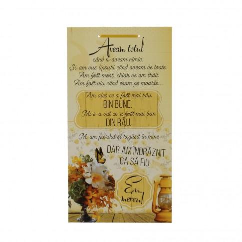 Tablou ES9295, cu mesaj, lemn, 48 x 25.5 cm