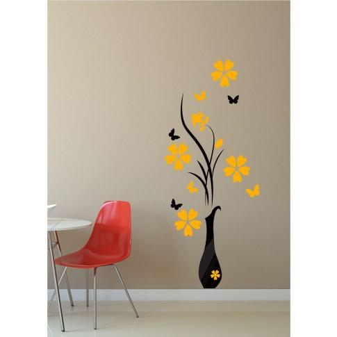 Sticker decorativ perete, living, Flori in vaza si fluturi, PT2310, 65 x 155 cm