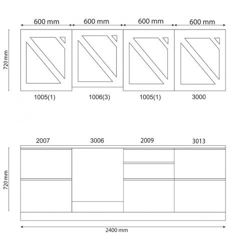 Bucatarie Visuri, caz 3 - Peris, gri antracit mat + cupru mat, 240 cm