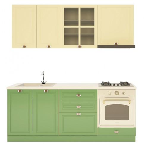Bucatarie Visuri, caz 7 - Campina, bej mat + verde mat, 200 cm