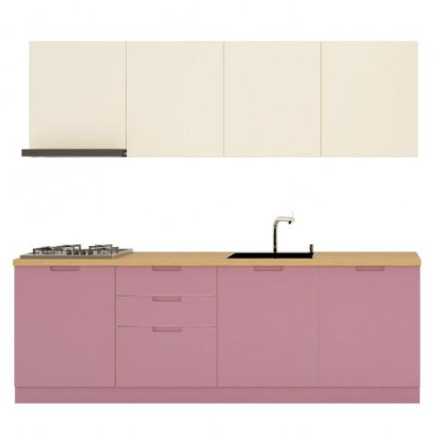 Bucatarie Visuri, caz 12 - Bucuresti, alb lucios + lila mat, 240 cm